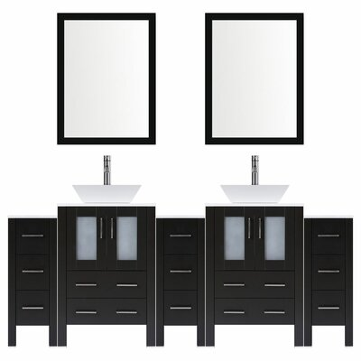 Modern 84 Double Bathroom Vanity Set with Mirror Base finish: Espresso