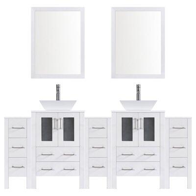 Modern 84 Double Bathroom Vanity Set with Mirror Base finish: White