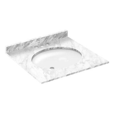 Cara White 25 Single Bathroom Vanity Top Faucet Mount: 4 Centers