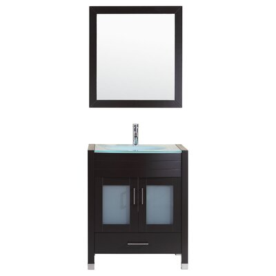 Peterman Modern 30 Single Bathroom Vanity Set with Mirror Base Finish: Black