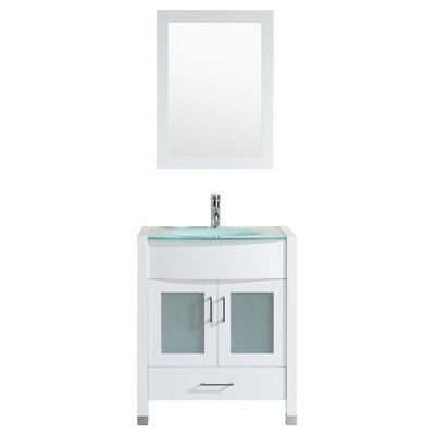 Peterman Modern 30 Single Bathroom Vanity Set with Mirror Base Finish: White