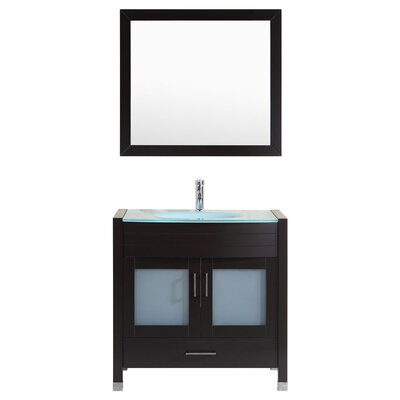 Peterman Modern 36 Single Bathroom Vanity Set with Mirror Base Finish: Black
