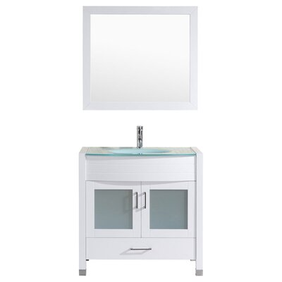 Peterman Modern 36 Single Bathroom Vanity Set with Mirror Base Finish: White