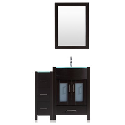 Peterman 42 Single Bathroom Vanity Set with Rectangular Mirror Base Finish: Black