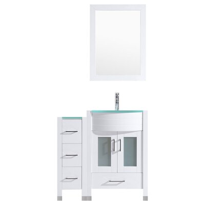 Peterman 48 Single Bathroom Vanity Set with Wood Frame Mirror Base Finish: White