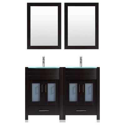 Peterman 60 Double Bathroom Vanity Set with Mirror Base Finish: Black