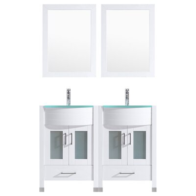 Peterman Modern 48 Double Bathroom Vanity Set with Mirror Base Finish: White