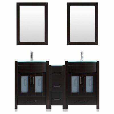 Peterman 60 Double Bathroom Vanity Set with Wood Frame Mirror Base Finish: Black