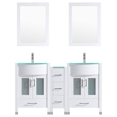 Peterman 60 Double Bathroom Vanity Set with Wood Frame Mirror Base Finish: White