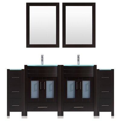 Peterman Modern 72 Double Bathroom Vanity Set with Wood Frame Mirror Base Finish: Black