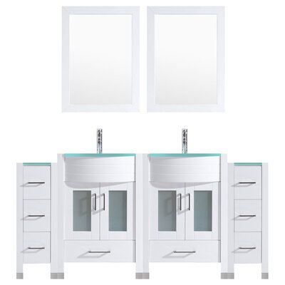 Peterman Modern 72 Double Bathroom Vanity Set with Wood Frame Mirror Base Finish: White