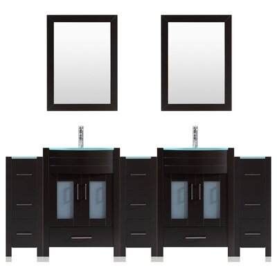 Peterman Modern 96 Double Bathroom Vanity Set with Wood Frame Mirror Base Finish: Black
