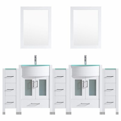 Peterman Modern 96 Double Bathroom Vanity Set with Wood Frame Mirror Base Finish: White