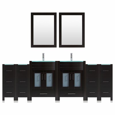 Peterman 96 Double Bathroom Vanity Set with Mirror Base Finish: Black