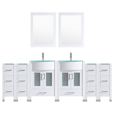 Peterman 108 Double Bathroom Vanity Set with Wood Frame Mirror Base Finish: White