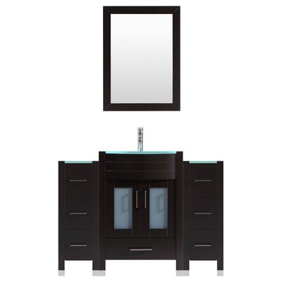 Peterman 54 Single Bathroom Vanity Set with Rectangular Mirror Base Finish: Black