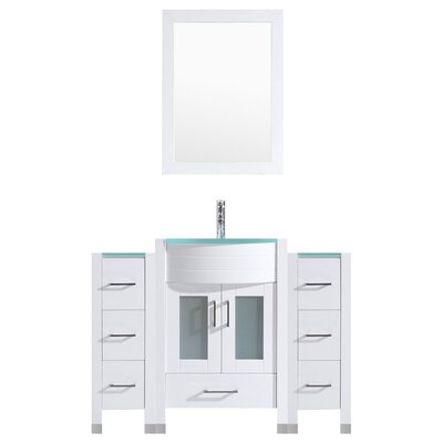 Peterman Modern 60 Single Bathroom Vanity Set with Mirror Base Finish: White
