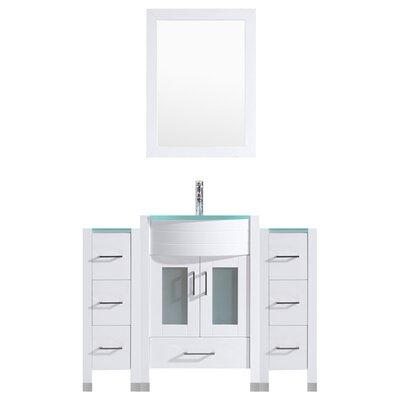 Peterman 54 Single Bathroom Vanity Set with Rectangular Mirror Base Finish: White