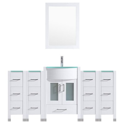 Peterman Modern 84 Single Bathroom Vanity Set with Mirror Base Finish: White