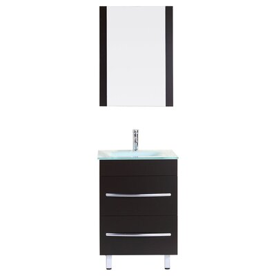 Peterman 24 Single Bathroom Vanity Set with Rectangular Mirror Base Finish: Black