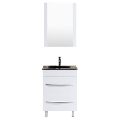 Peterman 24 Single Bathroom Vanity Set with Rectangular Mirror Base Finish: White