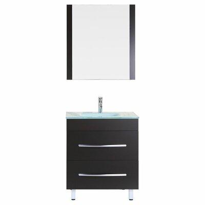 Peterman 30 Single Bathroom Vanity Set with Rectangular Mirror Base Finish: Black