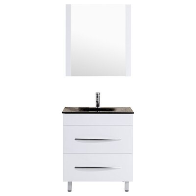 Peterman 30 Single Bathroom Vanity Set with Rectangular Mirror Base Finish: White