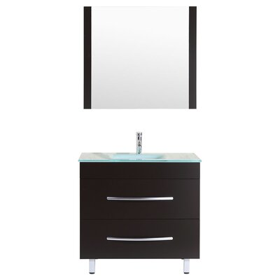Peterman 36 Single Bathroom Vanity Set with Mirror Base Finish: Black