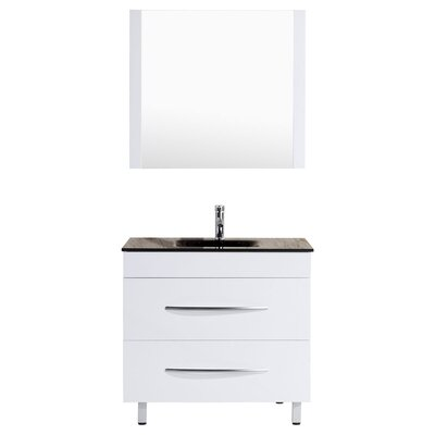 Peterman 36 Single Bathroom Vanity Set with Mirror Base Finish: White