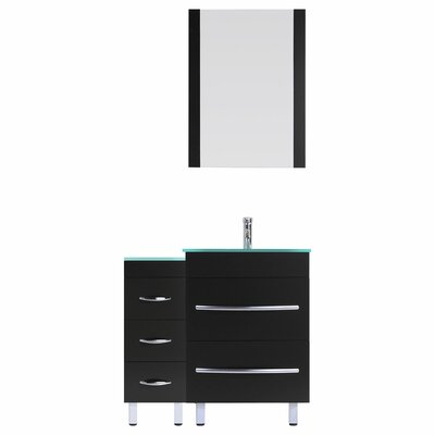 Peterman Modern 36 Single Bathroom Vanity Set with Rectangular Mirror Base Finish: Black