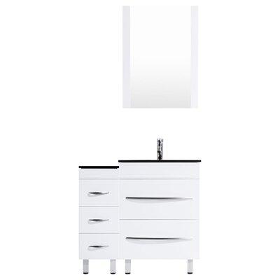 Peterman Modern 36 Single Bathroom Vanity Set with Rectangular Mirror Base Finish: White