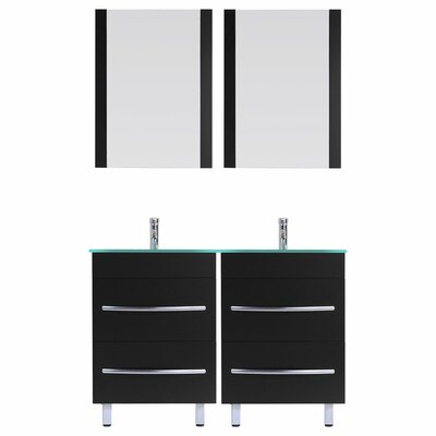 Peterman Modern 60 Double Bathroom Vanity Set with Rectangular Mirror Base Finish: Black