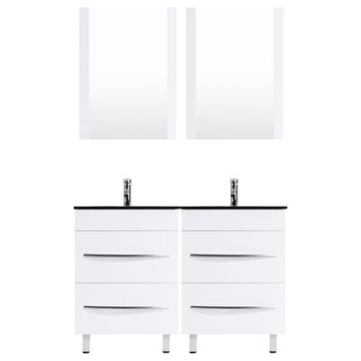 Peterman Modern 60 Double Bathroom Vanity Set with Rectangular Mirror Base Finish: White