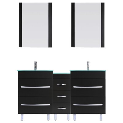 Peterman Modern 84 Double Bathroom Vanity Set with Mirror and Glass Top Base Finish: Black