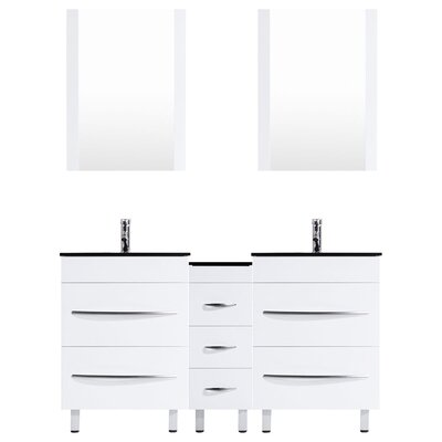 Peterman Modern 60 Double Bathroom Vanity Set with Mirror Base Finish: White