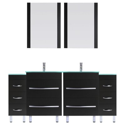 Peterman 72 Double Bathroom Vanity Set with Rectangular Mirror and Glass Top Base Finish: Black