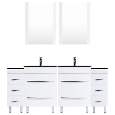 Peterman Modern 96 Double Bathroom Vanity Set with Mirror and Glass Top Base Finish: White
