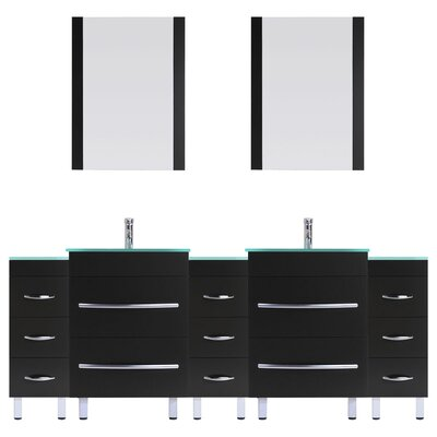 Peterman 96 Double Bathroom Vanity Set with Rectangular Mirror and Glass Top Base Finish: Black