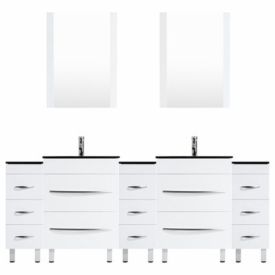 Peterman 96 Double Bathroom Vanity Set with Rectangular Mirror and Glass Top Base Finish: White
