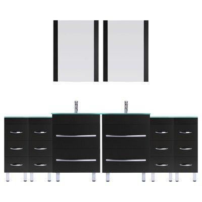 Peterman 96 Double Bathroom Vanity Set with Mirror Base Finish: Black