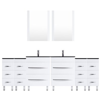Peterman 120 Double Bathroom Vanity Set with Mirror Base Finish: White