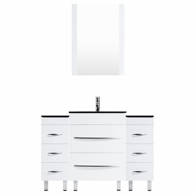 Peterman 48 Single Bathroom Vanity Set with Mirror Base Finish: White