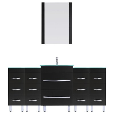 Peterman 78 Single Bathroom Vanity Set with Rectangular Mirror Base Finish: Black