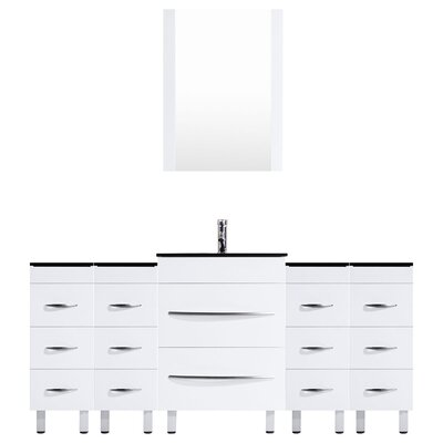 Peterman 84 Single Bathroom Vanity Set with Rectangular Mirror Base Finish: White
