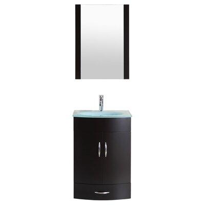 Peterman 24 Single Bathroom Vanity Set with Mirror Base Finish: Black