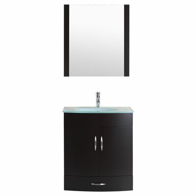 Peterman 30 Single Bathroom Vanity Set with Mirror Base Finish: Black