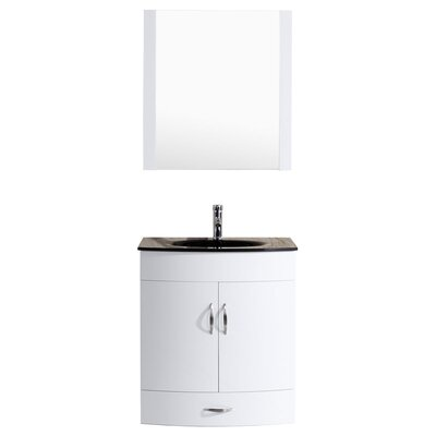 Peterman 30 Single Bathroom Vanity Set with Mirror Base Finish: White