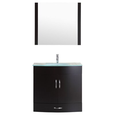 Peterman Modern 36 Single Bathroom Vanity Set with Wood Frame Mirror Base Finish: Black