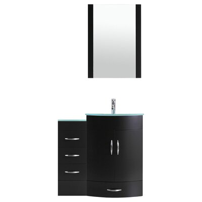 Peterman Modern 42 Single Bathroom Vanity Set with Mirror Base Finish: Black