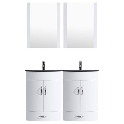 Peterman 48 Double Bathroom Vanity Set with Mirror Base Finish: White